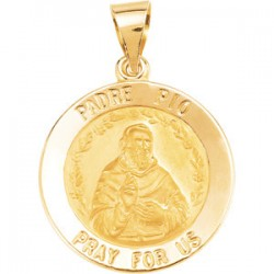 14K Yellow 18.75mm Round Hollow Padre Pio Medal