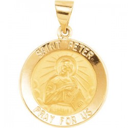 14K Yellow 18.25mm Round Hollow St. Peter Medal