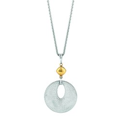 14K Yellow Goldsilver With Rhodium Finish Shiny Oval Link Chain Necklace Wi Th Fancy Round Mesh Like Pendant