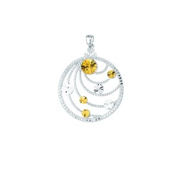 14K Yellow Goldsilver With Rhodium Finish Shiny Textured Oval Link Chain Ne Cklace With Fancy Round Pendant With Pattern