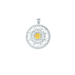 14K Yellow Goldsilver With Rhodium Finish Shiny Textured Oval Link Chain Ne Cklace With Fancy Round Pendant With Heart Pattern