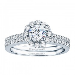 Rm1058-14k White Gold Round Cut Halo Diamond Engagement Ring