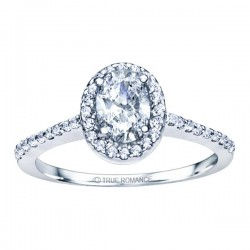 Rm1301v-14k White Gold Oval Cut Halo Diamond Engagement Ring
