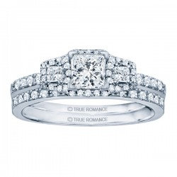 Rm1315-14k White Gold Princess Cut Halo Diamond Engagement Ring