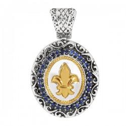 Phillip Gavriel 18K Yellow Gold & Sterling Silver Blue Sapphire Oval Fleur De L Is Pendant On Rhodium Finish Link Chain. Phillip Gavriel Fleur-De-Lis Coll Ection.