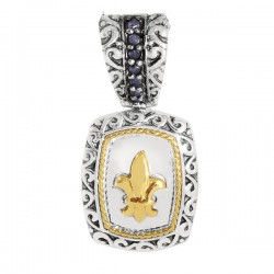 Phillip Gavriel 0.11Ct. Diamond 18K Yellow Gold & Sterling Silver Cushion Fleur De Lis Pendant On Rhodium Finish Link Chain. Phillip Gavriel Fleur-De-Lis Collection.