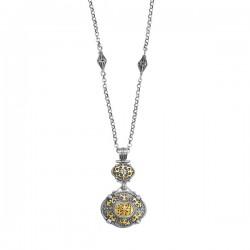 Phillip Gavriel 18K Yellow Gold & Sterling Silver Oxidized Drop Down Pendant On 1 Fancy Link Chain. Phillip Gavriel Timeless Byzantine Collection.
