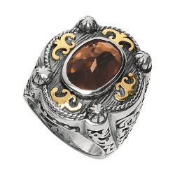Phillip Gavriel 18K Yellow Gold & Sterling Silver Oxidized Smokey Quartz Ring. Size-07. Phillip Gavriel Timeless Byzantine Collection.