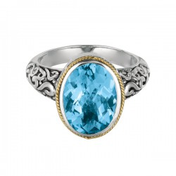 Phillip Gavriel 18K Yellow Gold & Sterling Silver Oval Blue Topaz Rock Candy Ring . Size-06. Phillip Gavriel Next Generation Of Rock Candy Collection.