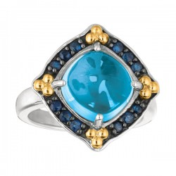 Phillip Gavriel 18K Yellow Gold & Sterling Silver Blue Topazblue Sapphire Rock Candy Ring. Size-06. Phillip Gavriel Next Generation Of Rock Candy Collection .