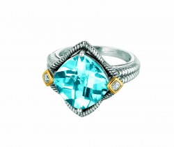 Phillip Gavriel0.02Ct. Diamondblue Topaz 18K Yellow Gold & Sterling Silver Roc K Candy Ring. Size-06. Phillip Gavriel Next Generation Of Rock Candy Collectio N.