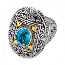 Phillip Gavriel 18K Yellow Gold & Sterling Silver Oxidized Oval Blue Topaz Byza Ntine Ring. Size-06. Phillip Gavriel Timeless Byzantine Collection.