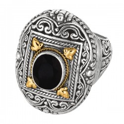 Phillip Gavriel 18K Yellow Gold & Sterling Silver Oxidized Oval Black Onyx Byza Ntine Ring. Size-06. Phillip Gavriel Timeless Byzantine Collection.