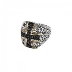 Phillip Gavriel 18K Yellow Gold & Sterling Silver Oxidized Black Sapphire Cross Theme Ring. Size-07. Phillip Gavriel Timeless Byzantine Collection.
