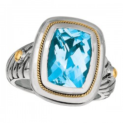 Phillip Gavriel 18K Yellow Gold & Sterling Silver Cushion Blue Topaz Ring. Size -06. Phillip Gavriel Next Generation Of Rock Candy Collection.