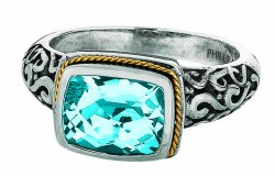 Phillip Gavriel 18K Yellow Gold & Sterling Silver Cushion Blue Topaz Rock Candy Ring. Size-06. Phillip Gavriel Next Generation Of Rock Candy Collection.