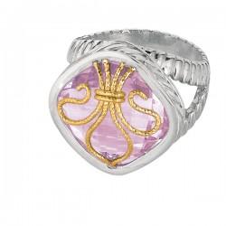 Phillip Gavriel 18K Yellow Gold & Sterling Silver Pink Amethyst Fleur De Lis Ring . Size-06. Phillip Gavriel Fleur-De-Lis Collection.
