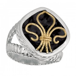 Phillip Gavriel 18K Yellow Gold & Sterling Silver Black Onyx Fleur De Lis Ring. Size-06. Phillip Gavriel Fleur-De-Lis Collection.