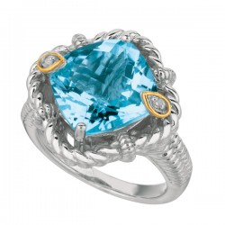 Phillip Gavriel 0.02Ct Diamondblue Topaz 18K Yellow Gold & Sterling Silver Roc K Candy Ring. Size-06. Phillip Gavriel Next Generation Of Rock Candy Collectio N.