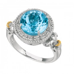 Phillip Gavriel 0.08Ct Diamondblue Topaz 18K Yellow Gold & Sterling Silver Roc K Candy Ring. Size-06. Phillip Gavriel Next Generation Of Rock Candy Collectio N.