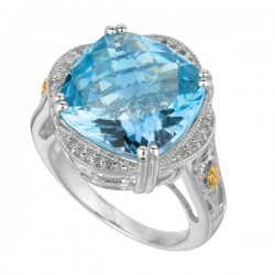 Phillip Gavriel0.10Ct. Diamondblue Topaz 18K Yellow Gold & Sterling Silver Roc K Candy Ring. Size-06. Phillip Gavriel Next Generation Of Rock Candy Collectio N.