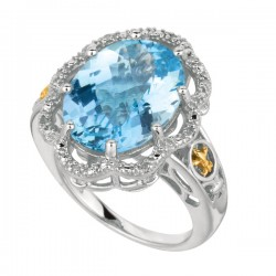 Phillip Gavriel0.04Ct Diamondblue Topaz 18K Yellow Gold & Sterling Silver Rock Candy Ring. Size-06. Phillip Gavriel Next Generation Of Rock Candy Collection .