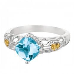Phillip Gavriel 18K Yellow Gold & Sterling Silver Blue Topaz Ring. Size-05. Phi Llip Gavriel Fleur-De-Lis Collection.