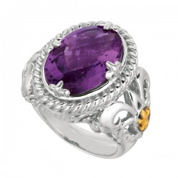 Phillip Gavriel 18K Yellow Gold & Sterling Silver Amethyst Oval Ring. Size-07. Phillip Gavriel Next Generation Of Rock Candy Collection.