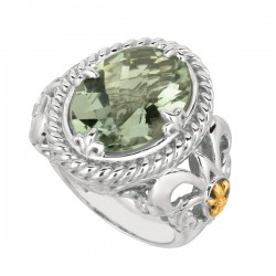 Phillip Gavriel 18K Yellow Gold & Sterling Silver Green Amethyst Oval Ring. Siz E-07. Phillip Gavriel Next Generation Of Rock Candy Collection.