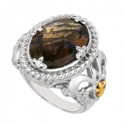 Phillip Gavriel 18K Yellow Gold & Sterling Silver Smokey Quartz Oval Ring. Size -07. Phillip Gavriel Next Generation Of Rock Candy Collection.
