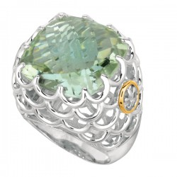 Phillip Gavriel 18K Yellow Gold & Sterling Silver Green Amethyst Ring. Size-05 Phillip Gavriel Fleur-De-Lis Collection.