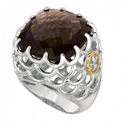 Phillip Gavriel 18K Yellow Gold & Sterling Silver Smokey Quartz Ring. Size-07 Phillip Gavriel Fleur-De-Lis Collection.
