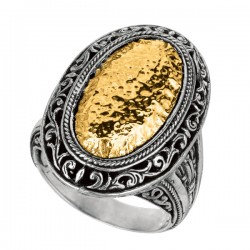 Phillip Gavriel 18K Yellow Gold & Sterling Silver Oxidized Hammered Finished Oval Byzantine Ring. Size-06 Phillip Gavriel Timeless Byzantine Collection.