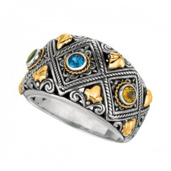 Phillip Gavriel 18K Yellow Gold & Sterling Silver Oxidized Blue Topazperidotcitrine Graduated Byzantine Ring. Size-06. Phillip Gavriel Timeless Byzantine C Ollection.