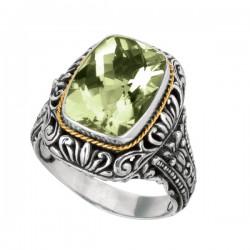 Phillip Gavriel 18K Yellow Gold & Sterling Silver Oxidized Cushion Green Amethyst Byzantine Ring. Size-06. Phillip Gavriel Timeless Byzantine Collection.