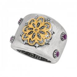 Phillip Gavriel 0.08Ct. Diamondblue Topaz 18K Yellow Gold & Sterling Silver Matt Finished Boticelli Graduated Ring. Size-07. Phillip Gavriel Introducing Boti Celli Collection.