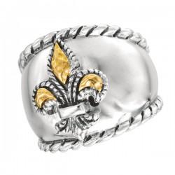 Phillip Gavriel 18K Yellow Gold & Sterling Silver Fleur De Lis Domed Ring. Size -07. Phillip Gavriel Fleur-De-Lis Collection.