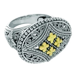 18K Yellow Goldsterling Silver With Rhodium Finish 4.5Mm Shiny 4 Small Yg Flower On 1 9X27Mm Oval Shape Top Size 07 Ring