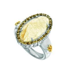 18K Yellow Gold Sterling Silver Sz-6 Oval Brioll Ette Black Rutil Quartz Bla Ck Spinel Ring