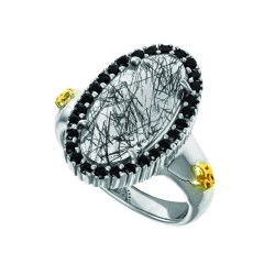 18K Yellow Gold Sterling Silver Sz-6 Oval Brioll Ette Olden Rutil Quartz Citr Ine Spinel Ring