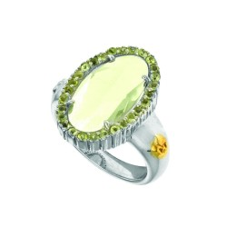 18K Yellow Gold Sterling Silver Sz-6 Oval Brioll Ette Green Amethystperidot S Pinel Ring