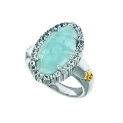 18K Yellow Gold Sterling Silver Sz-6 Oval Brioll Ette Milky Aqumarine Aqumar Ine Ring