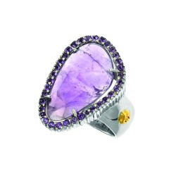 18K Yellow Gold Sterling Silver Sz-7 Briollette Amethyst Ring