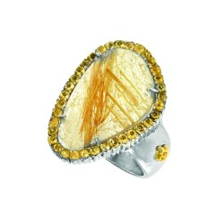 18K Yellow Gold Sterling Silver Sz-7 Briollette Black Rutil Quartzblack Spinel Ring