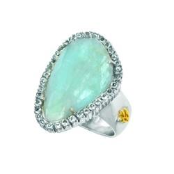 18K Yellow Gold Sterling Silver Sz-7 Briollette Milky Aqumarine Aqumarine Ring