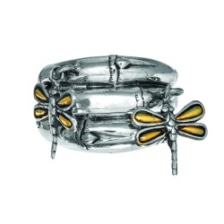 18K Yellow Goldsterling Silver 3-Row Graduated Bamboo Ring With 2-Dangle Dragonflies Sz-6