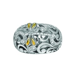 18K Yellow Goldsterling Silver 0.35Ct.Diamond Graduated Ring With Dragonfly Sz-7.