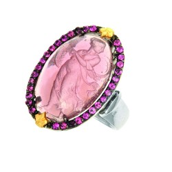 18K Yellow Goldsilver With Rhodium Finish 22X15Mm Purple Cameo Ring Bordered With Pink Rhodalite