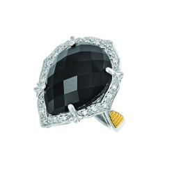 18K Yellow Goldsilver Rhodium Finish Fancy 3.0Mm Ring With 1-20X15 Teardrop Top Psdome Ck Flat Bo Ttom Black Onyx Trimmed With 20-0.01Ct Fc White Di