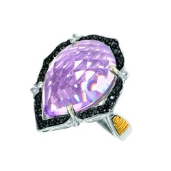 18K Yellow Goldsilver Rhodiumruthenium Finish F Ancy 3.0Mm Ring With 1-20X15 Teardrop Top Psdome Ck Flat Bottom Pink Amethyst Trimmed With 20-0.01C